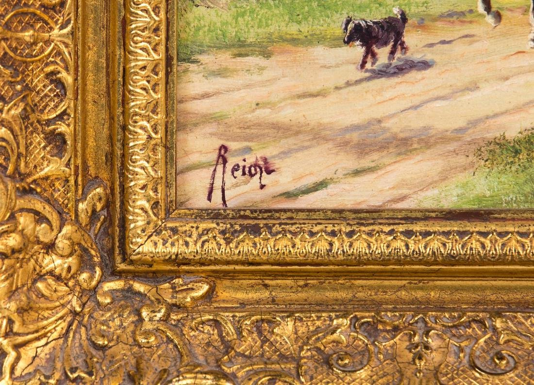 PAIR REICHL OIL PAINTING ON BOARD WAGON WITH HORSE - 8