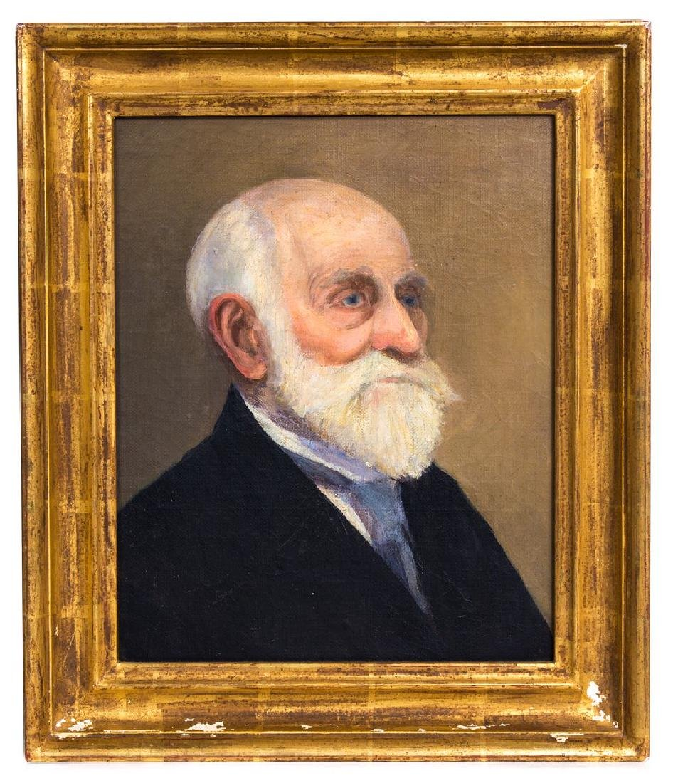 PORTRAIT OIL PAINTING ON BOARD OF OLD MAN