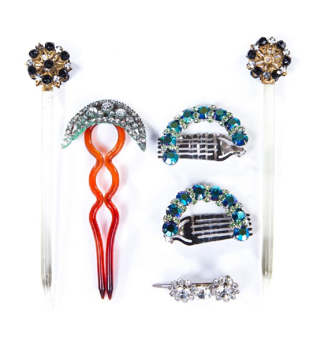 VINTAGE COSTUME JEWELED HAIR ORNAMENTS