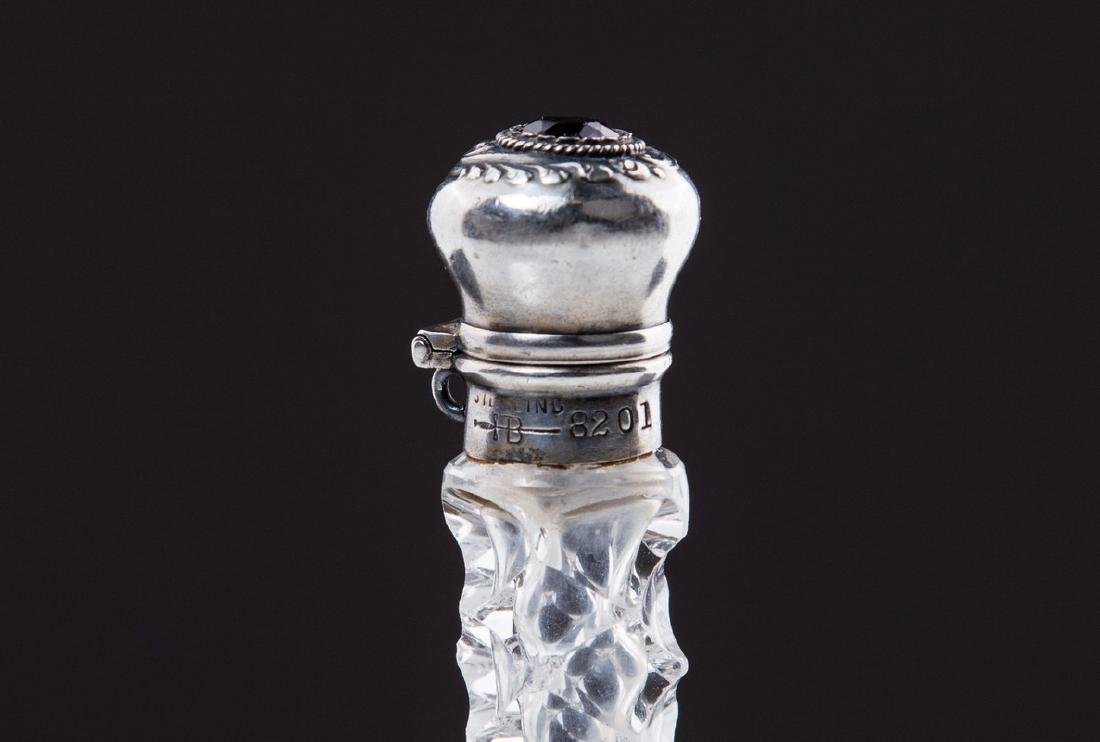 ANTIQUE AMERICAN STERLING & CRYSTAL PERFUME BOTTLE - 4