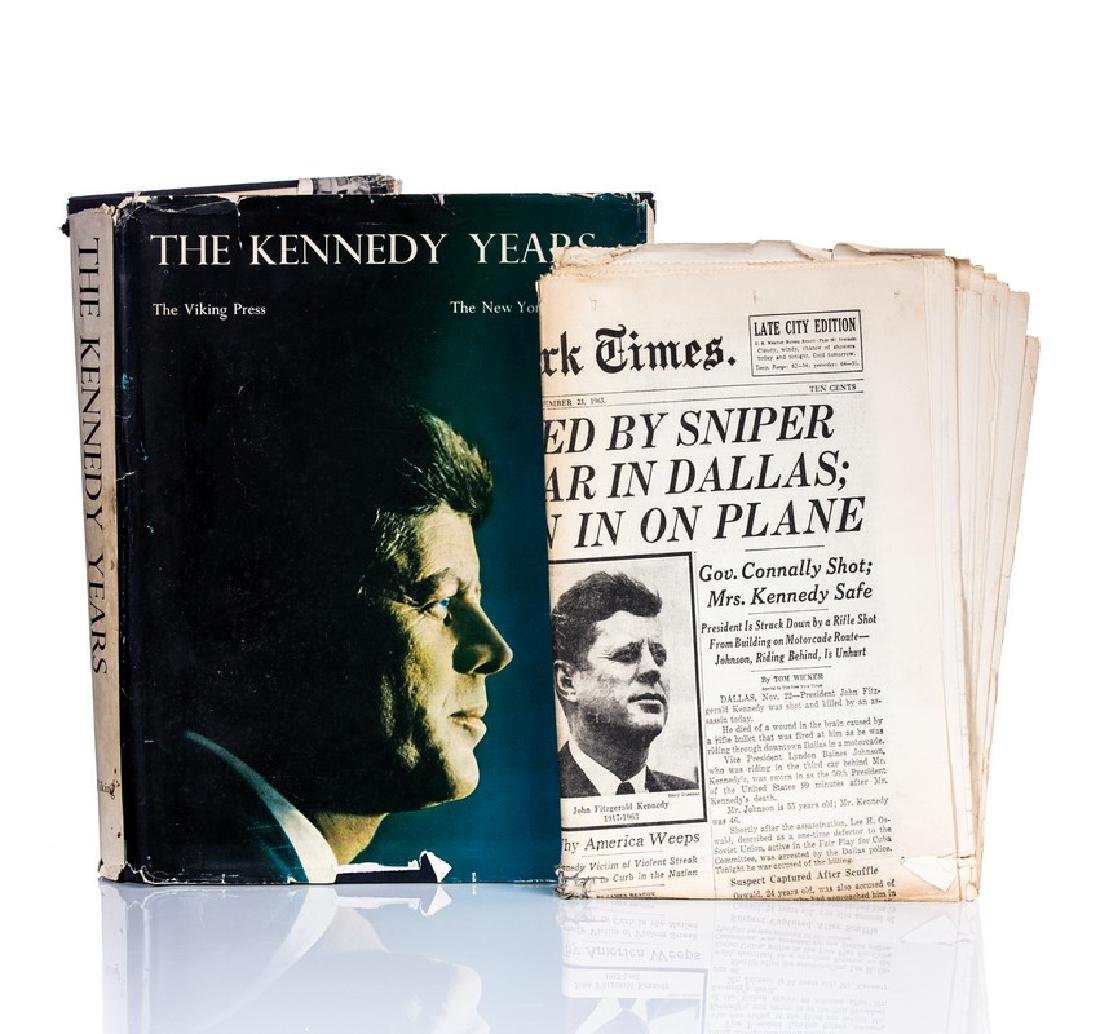 """""""THE KENNEDY YEARS"""" BOOK WITH NY TIMES PAPER"""