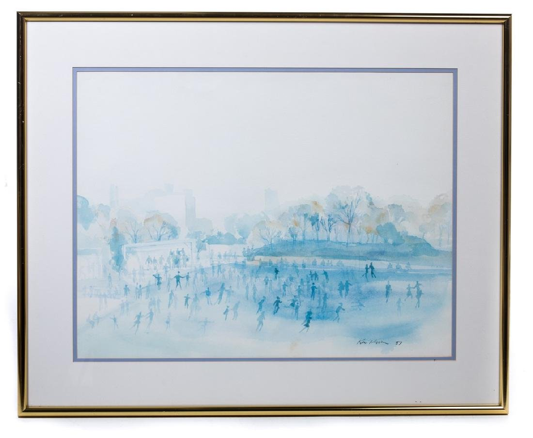 """WATERCOLOR """"CENTRAL PARK"""" SIGNED"""