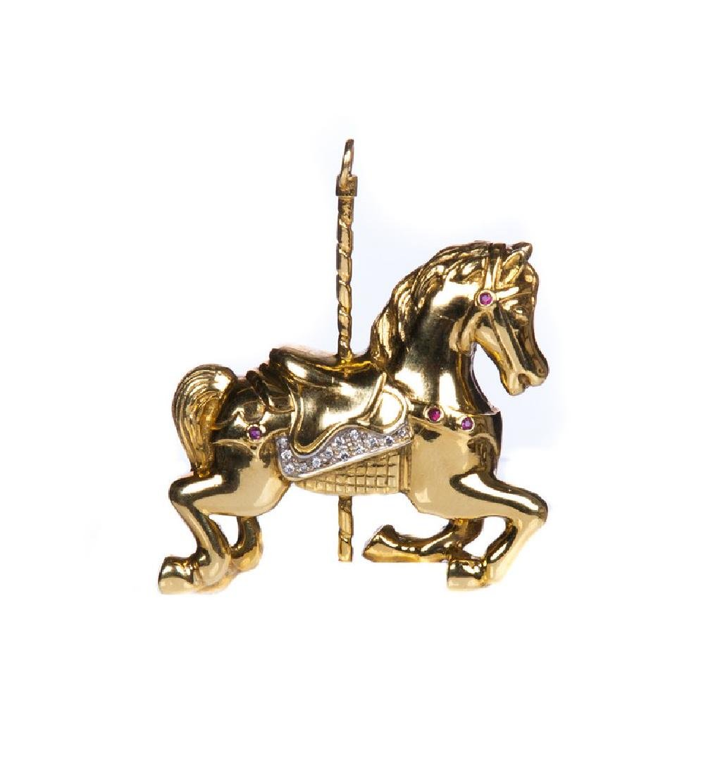 18 KT YELLOW GOLD DIAMOND HORSE PENDANT PIN