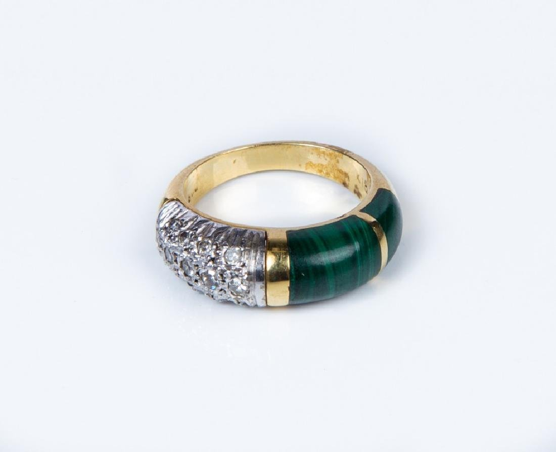 LADIES DIAMOND AND MALACHITE BAND