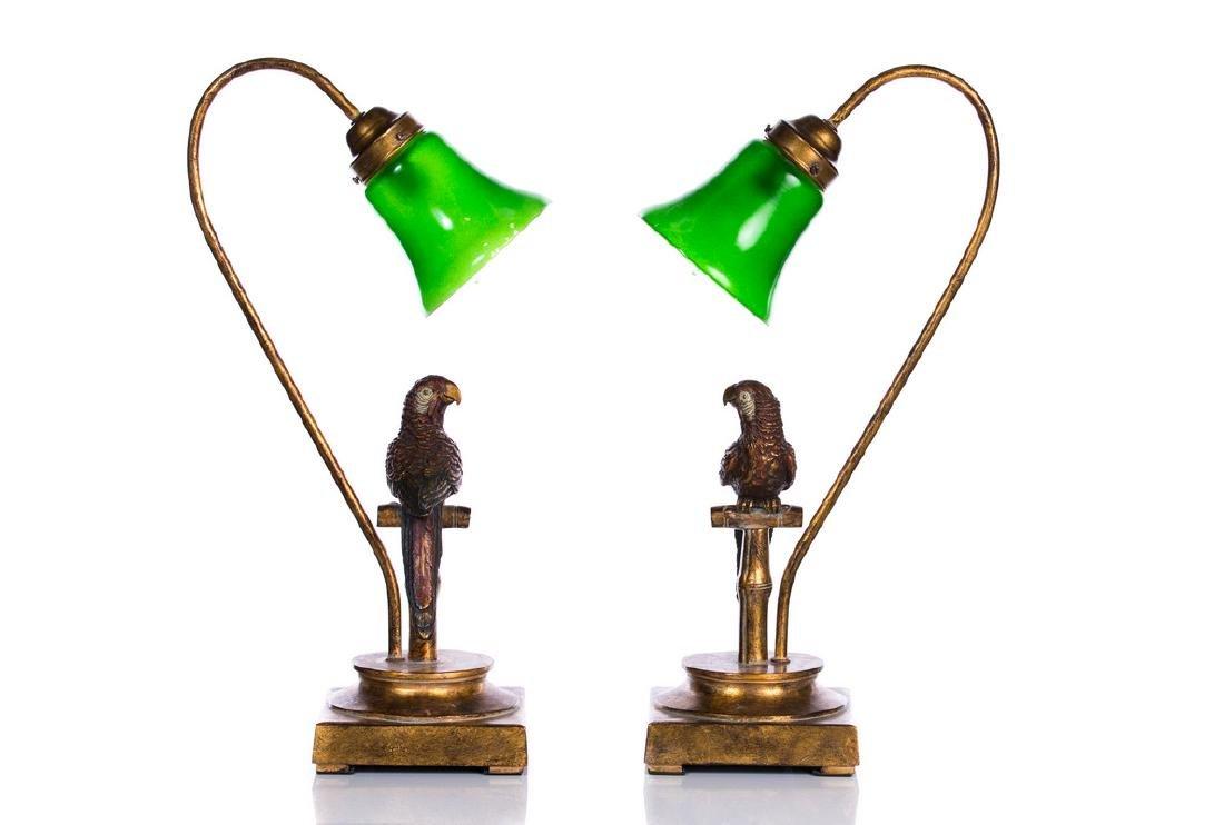 PAIR PARROT LAMPS