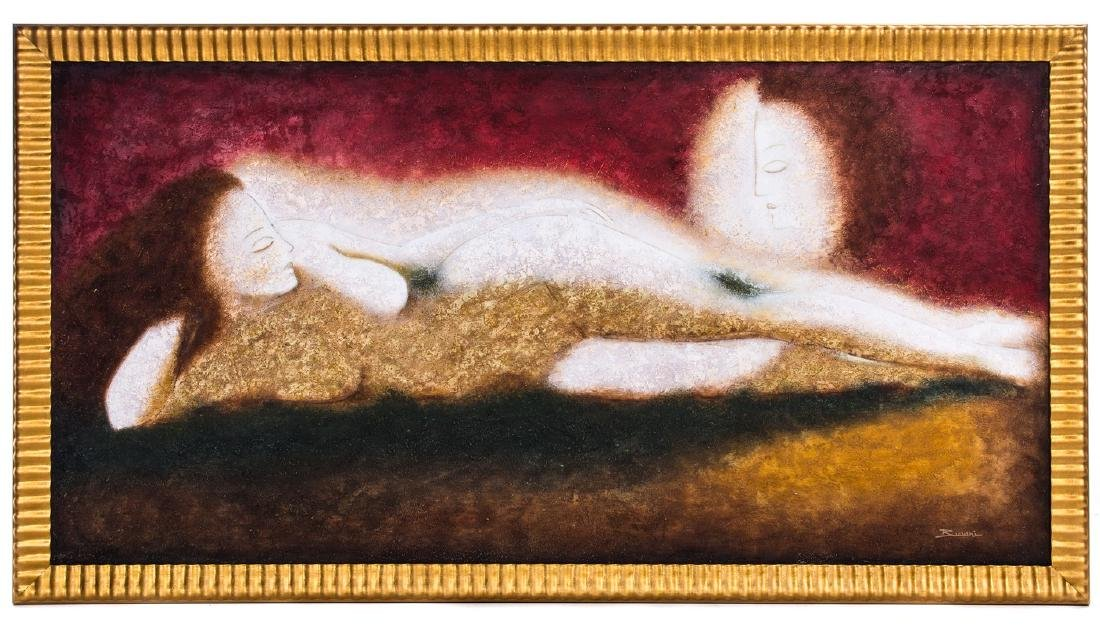 OIL PAINTING ON CANVAS LADY RECLINING