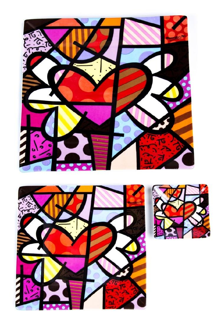 ROMERO BRITTO SET OF 3 DECORATIVE PLATES 2005