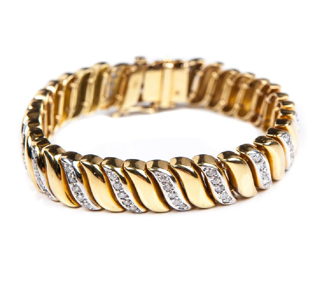 18 KT YELLOW GOLD AND DIAMOND BRACELET