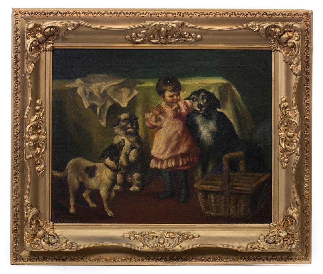 19TH CENTURY OIL PAINTING DOGS AND CHILD