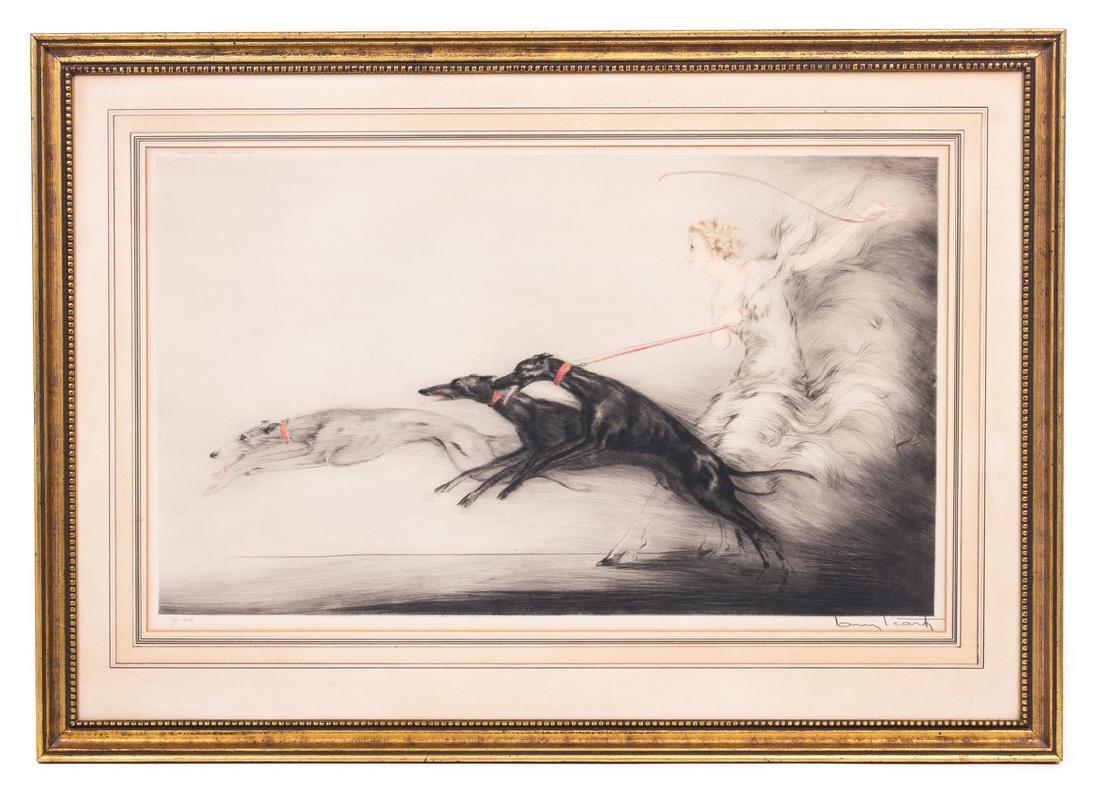 "LOUIS ICART COLOR ETCHING ""SPEED I"""
