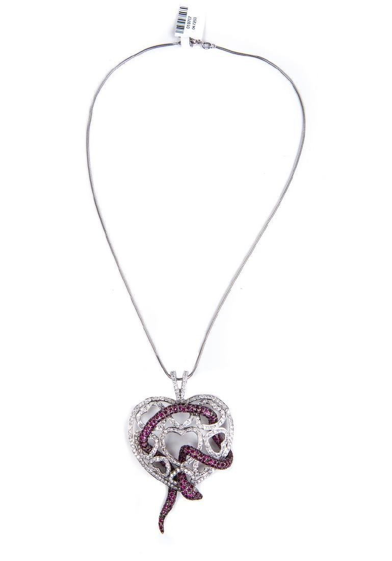 RUBY AND DIAMOND HEART NECKLACE