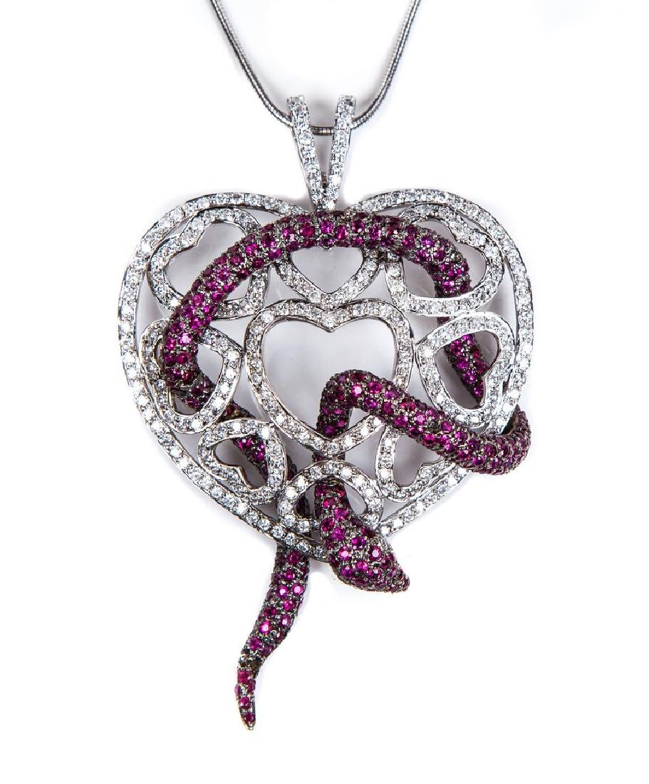 RUBY AND DIAMOND HEART NECKLACE - 2