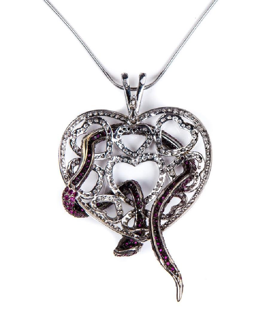 RUBY AND DIAMOND HEART NECKLACE - 4