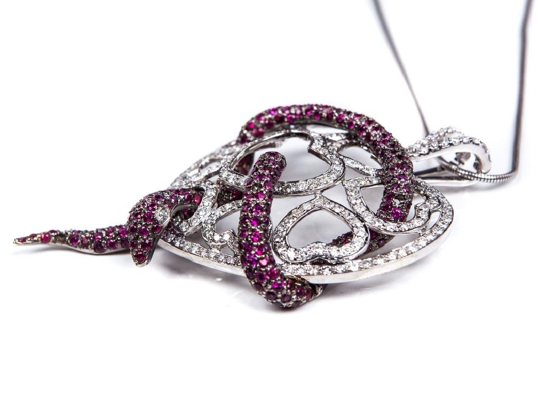 RUBY AND DIAMOND HEART NECKLACE - 6