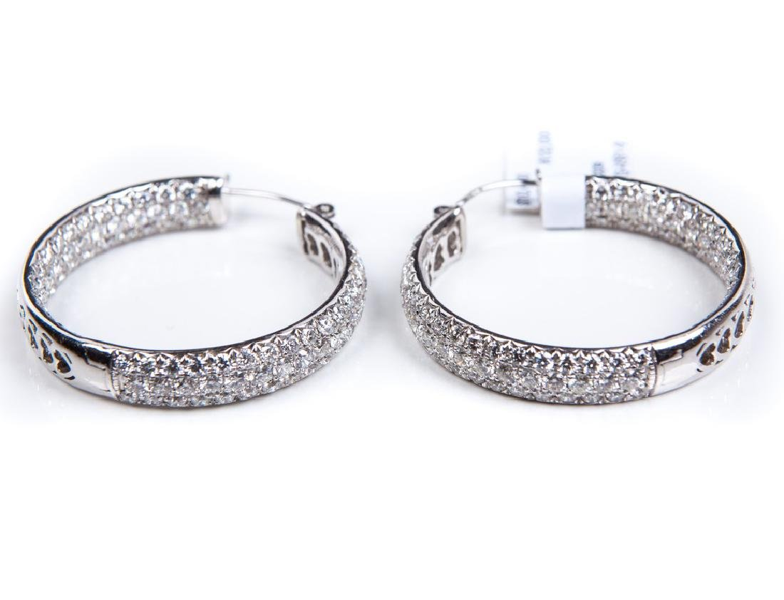 18 KT WHITE GOLD DIAMOND HOOPS