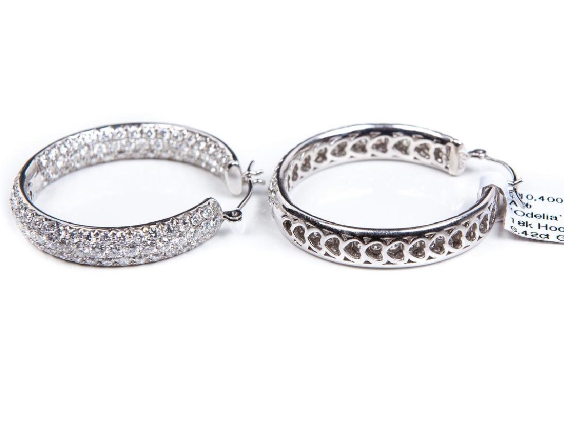 18 KT WHITE GOLD DIAMOND HOOPS - 2