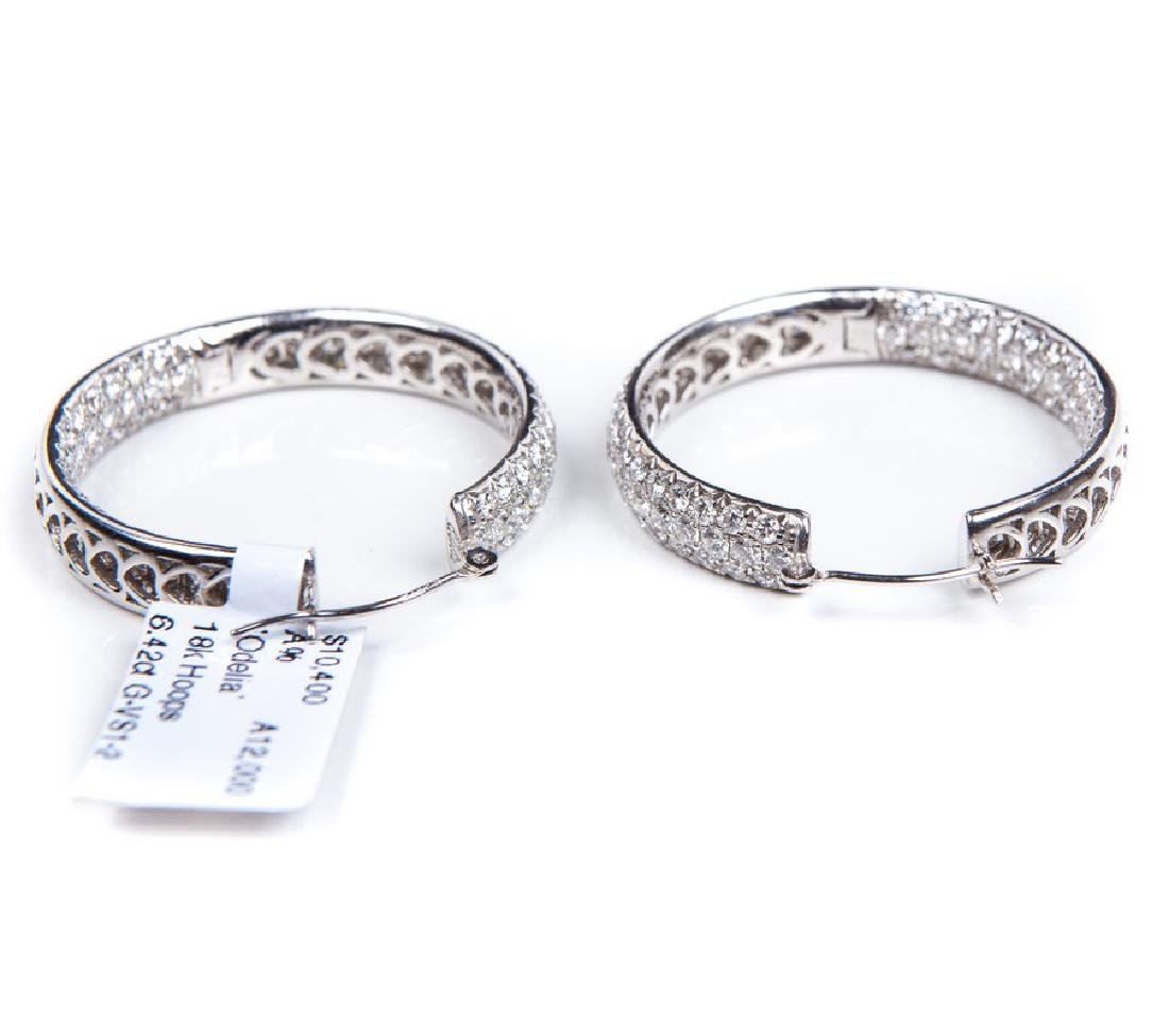 18 KT WHITE GOLD DIAMOND HOOPS - 3