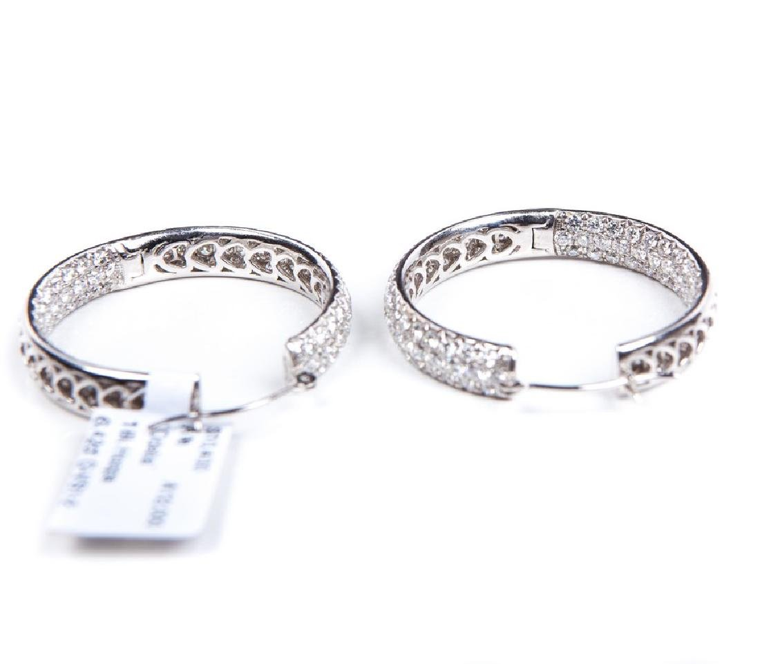 18 KT WHITE GOLD DIAMOND HOOPS - 4