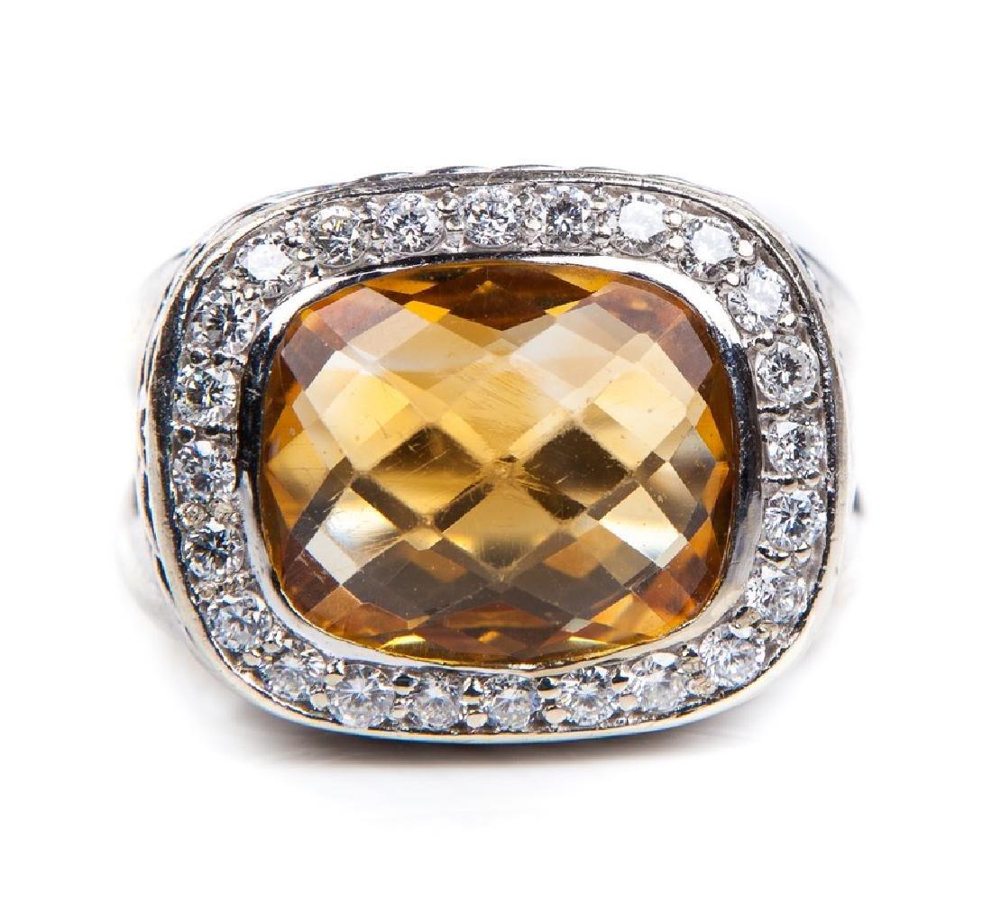 CITRINE AND DIAMOND RING DAVID YURMAN STYLE - 2
