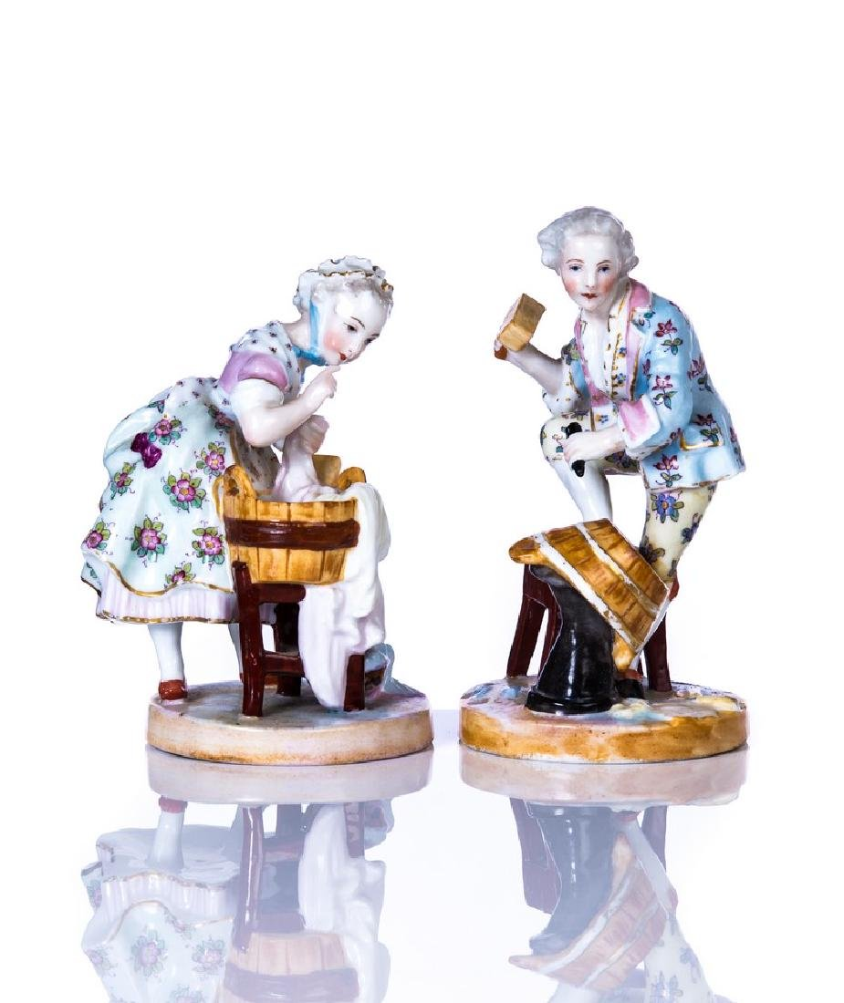 PAIR OF MEISSEN HAND PAINTED PORCELAIN FIGURE