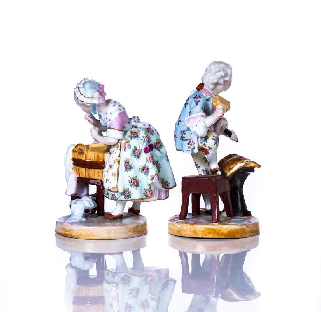 PAIR OF MEISSEN HAND PAINTED PORCELAIN FIGURE - 2