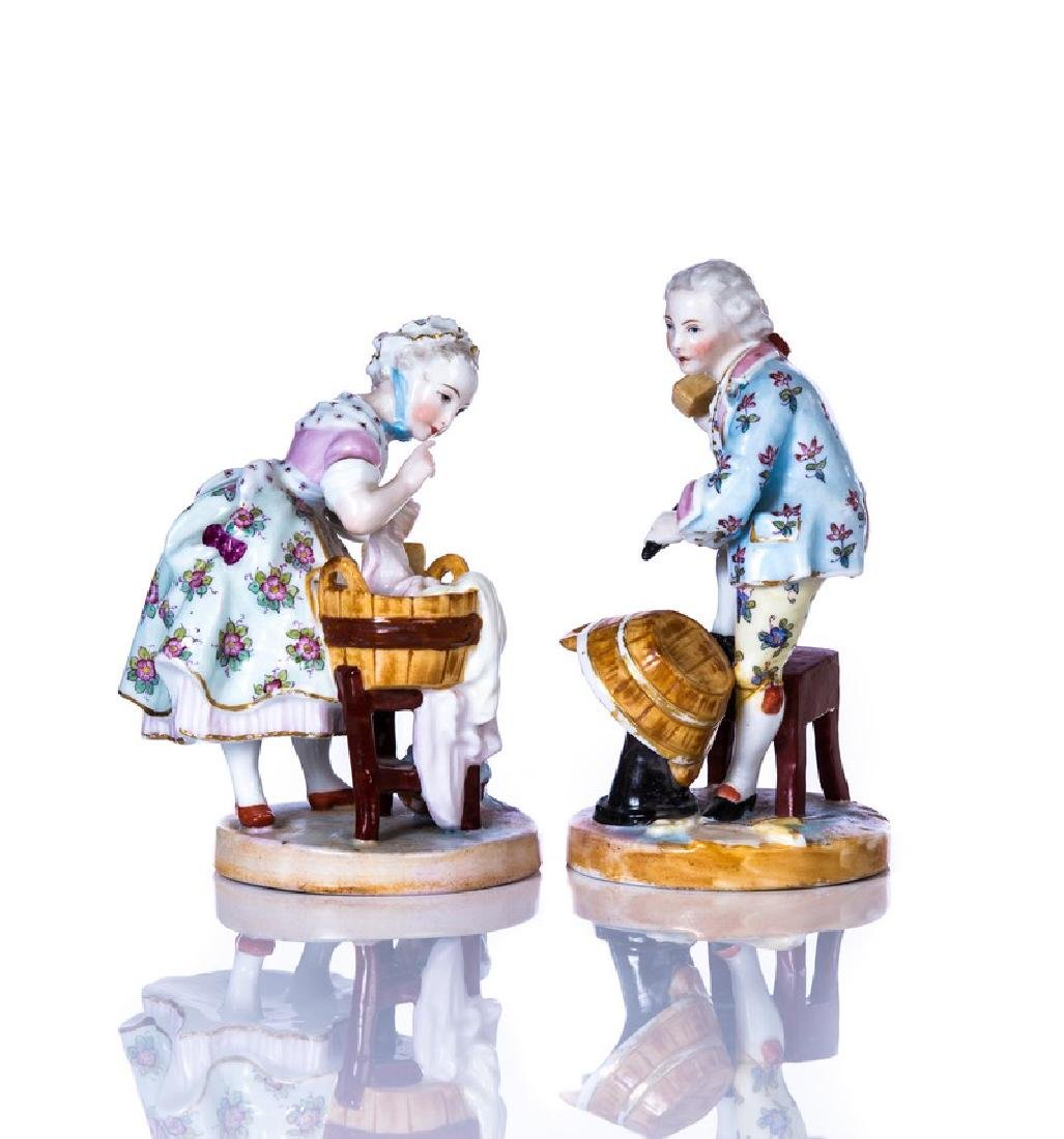 PAIR OF MEISSEN HAND PAINTED PORCELAIN FIGURE - 3