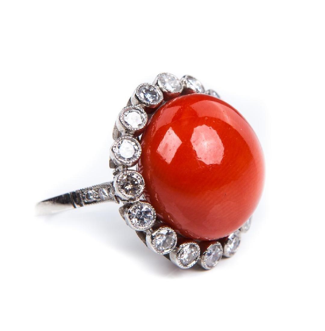 VINTAGE CORAL DIAMOND AND PLATINUM RING