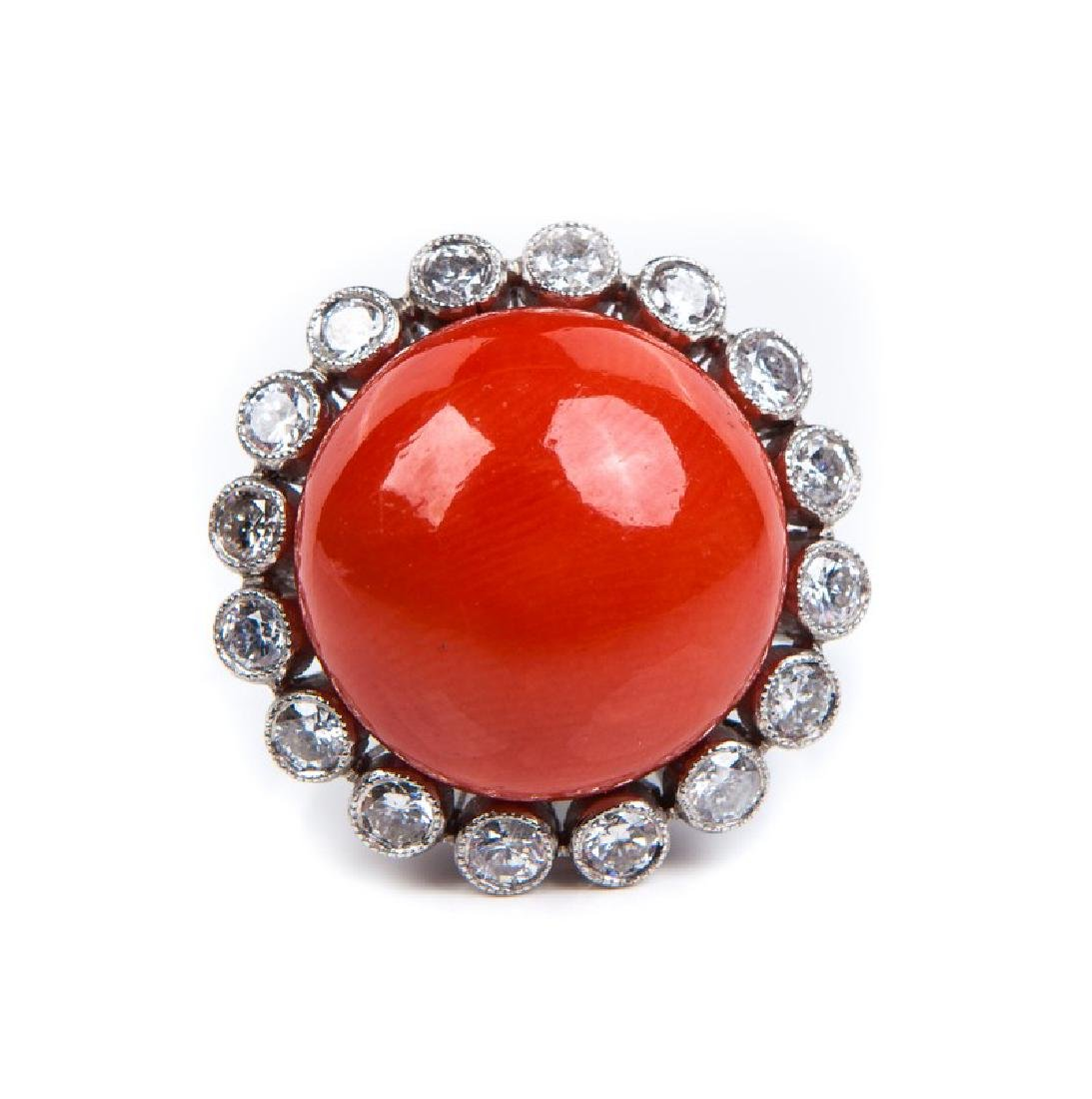 VINTAGE CORAL DIAMOND AND PLATINUM RING - 2