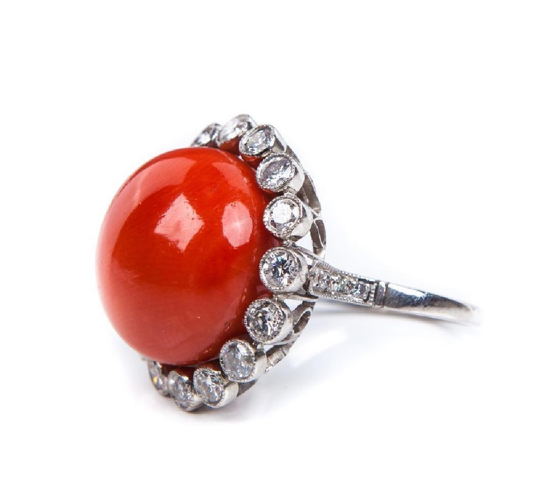 VINTAGE CORAL DIAMOND AND PLATINUM RING - 3