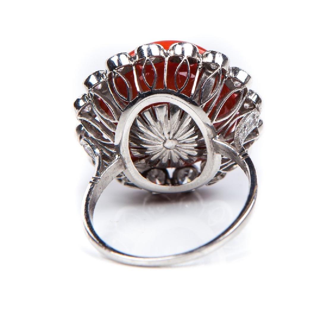 VINTAGE CORAL DIAMOND AND PLATINUM RING - 4