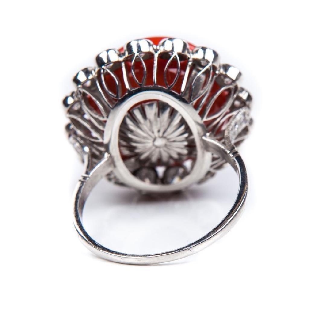 VINTAGE CORAL DIAMOND AND PLATINUM RING - 5