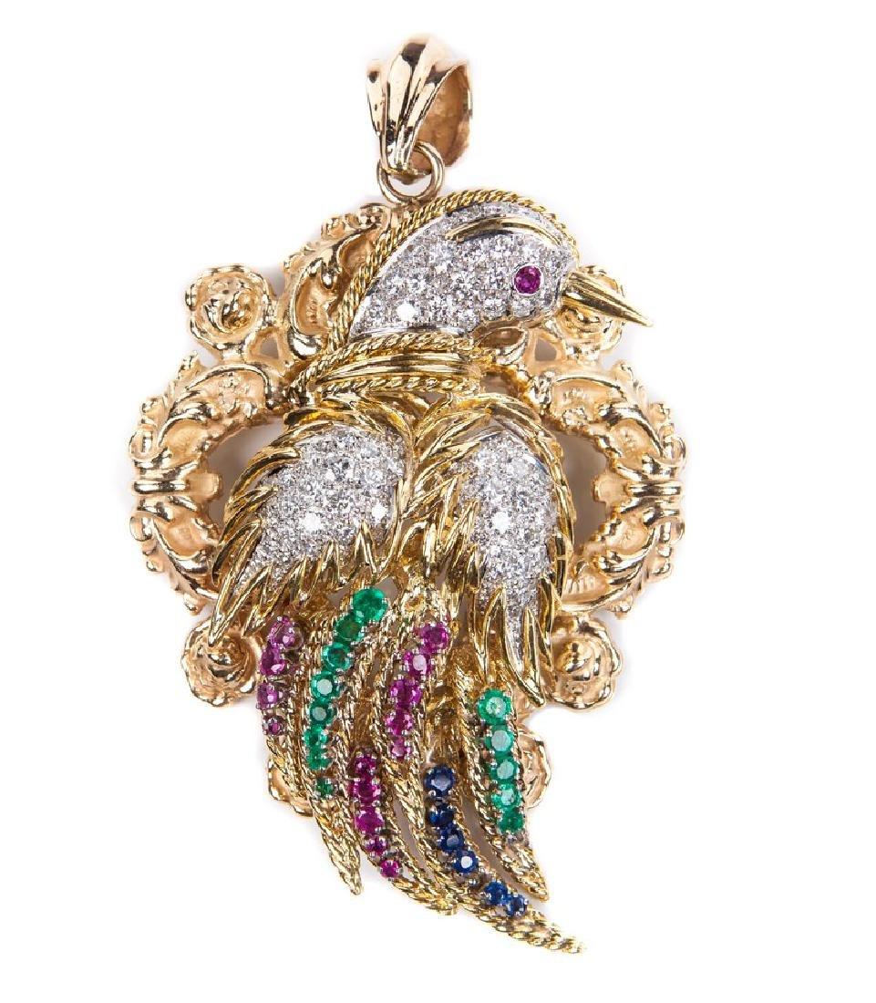 18 KT DIAMOND RUBY AND EMERALD BIRD PIN / PENDANT