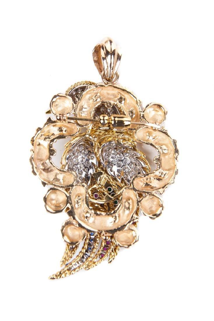 18 KT DIAMOND RUBY AND EMERALD BIRD PIN / PENDANT - 2