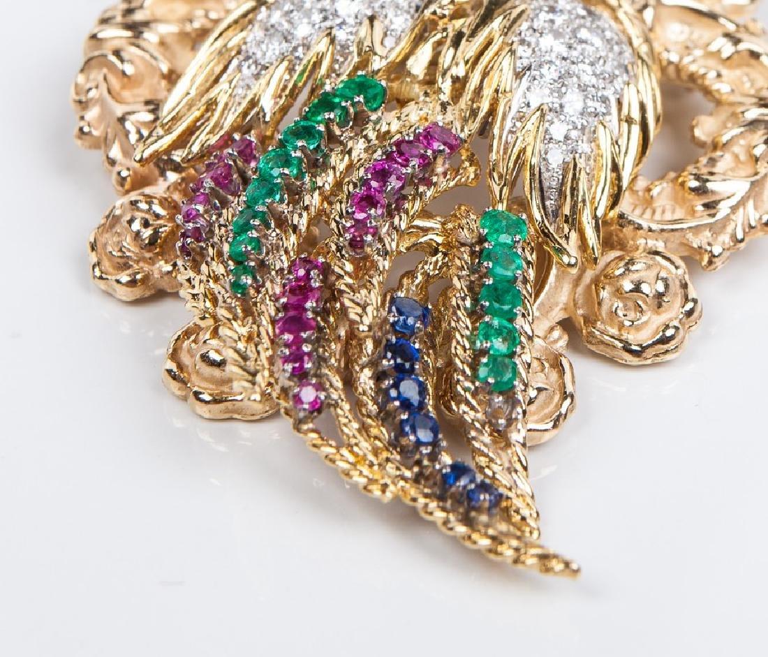 18 KT DIAMOND RUBY AND EMERALD BIRD PIN / PENDANT - 3