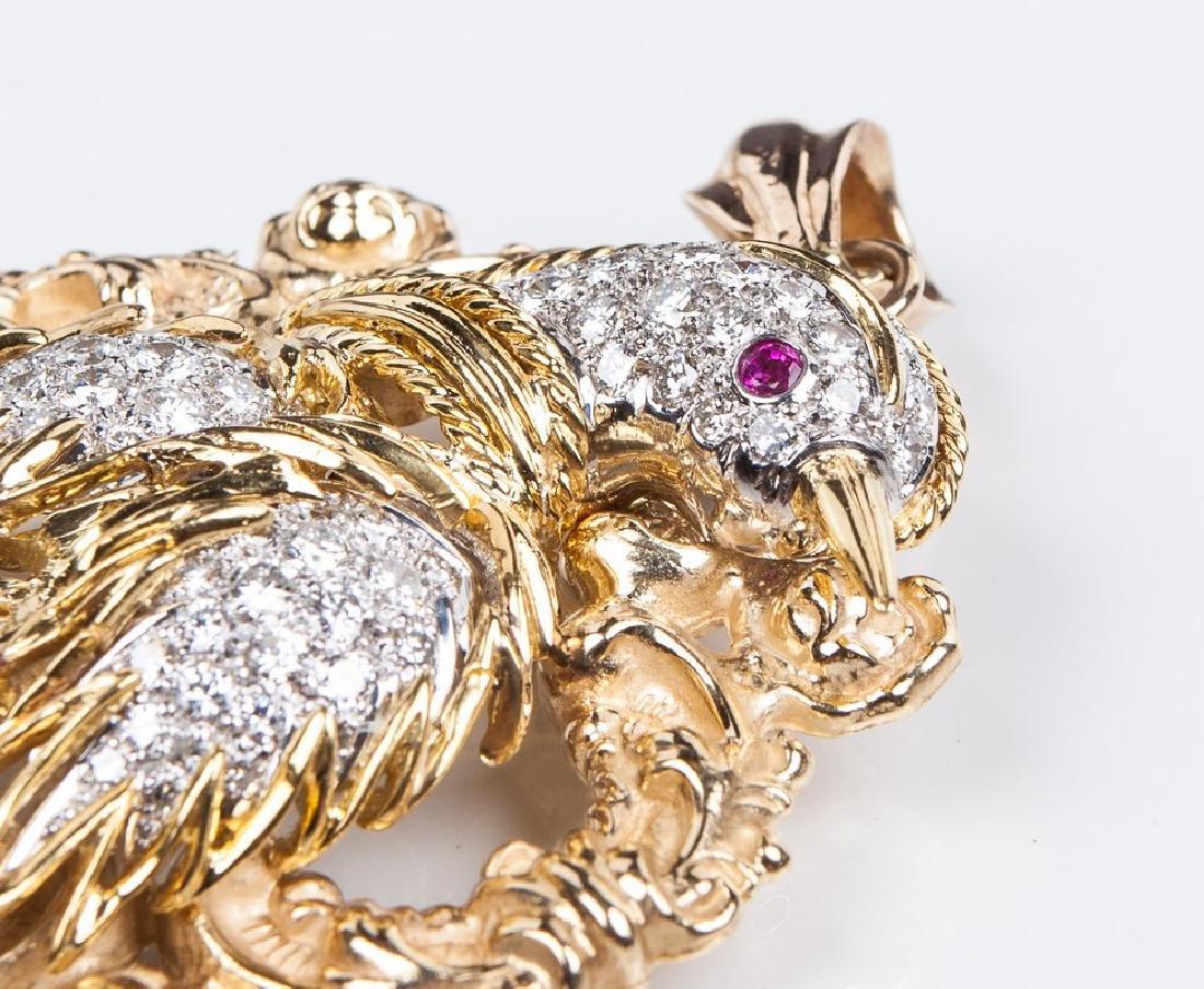 18 KT DIAMOND RUBY AND EMERALD BIRD PIN / PENDANT - 4