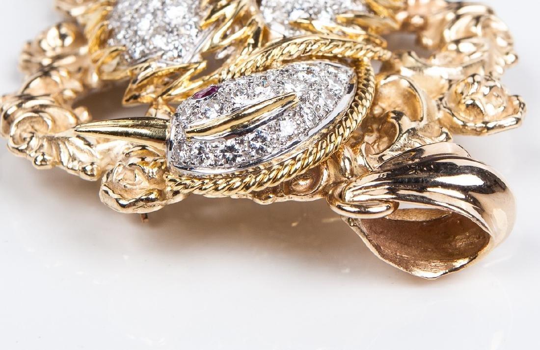 18 KT DIAMOND RUBY AND EMERALD BIRD PIN / PENDANT - 5
