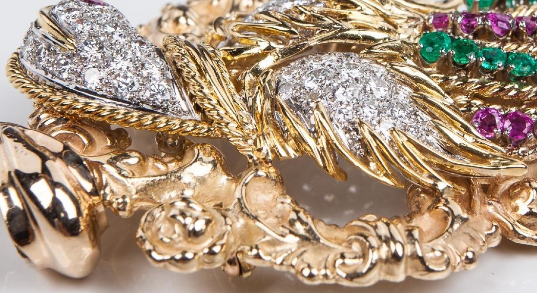 18 KT DIAMOND RUBY AND EMERALD BIRD PIN / PENDANT - 6