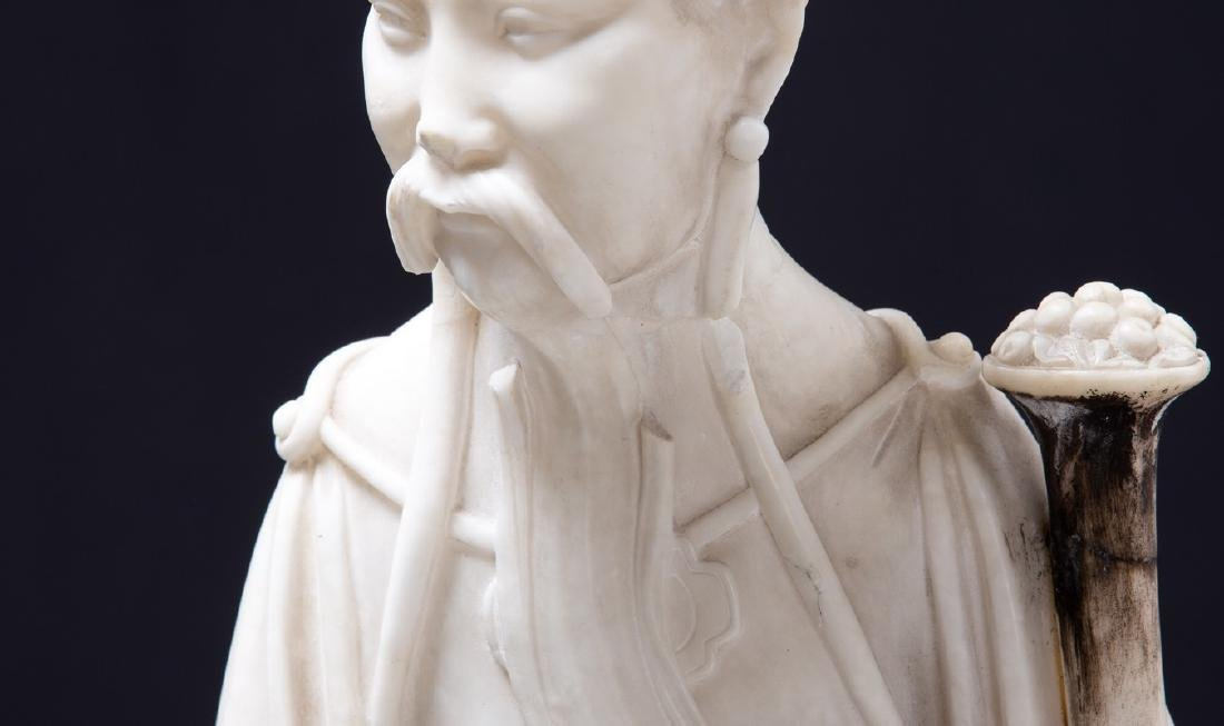 CHINESE ALABASTER FIGURE OF AN ELDER - 5