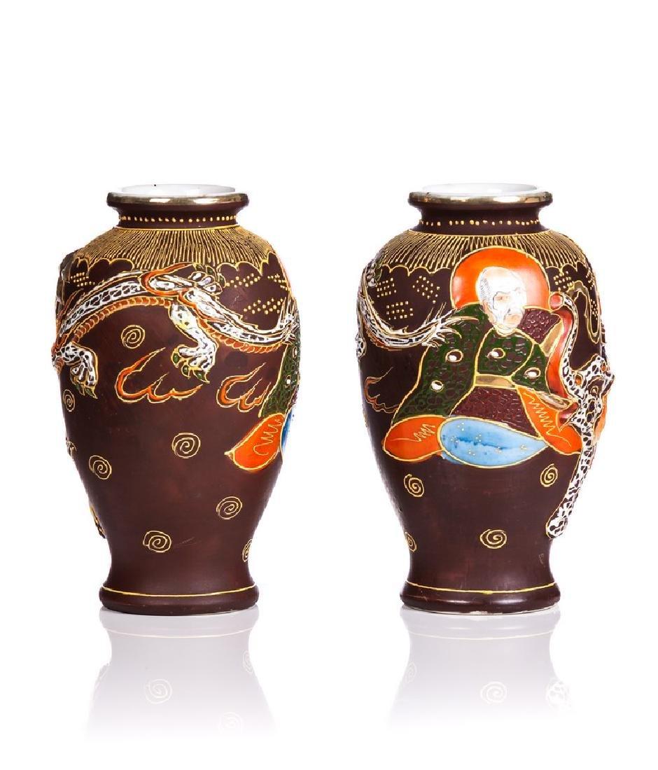 PAIR OF JAPANESE SATSUMA STYLE VASES - 2