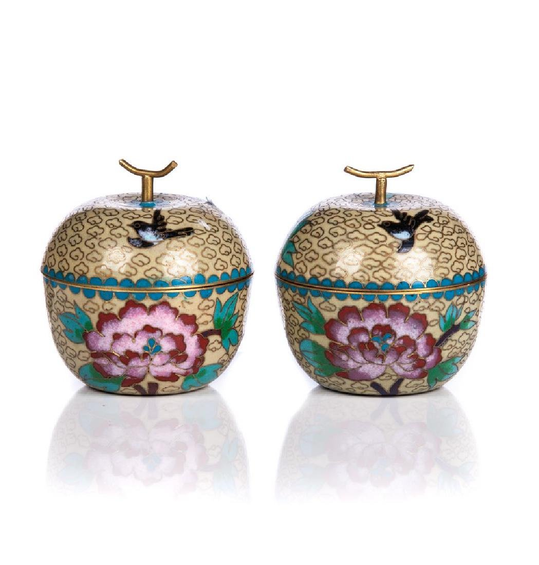 PAIR OF CHINESE CLOISONNE COVERED APPLE BOXES