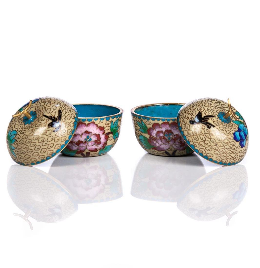 PAIR OF CHINESE CLOISONNE COVERED APPLE BOXES - 2