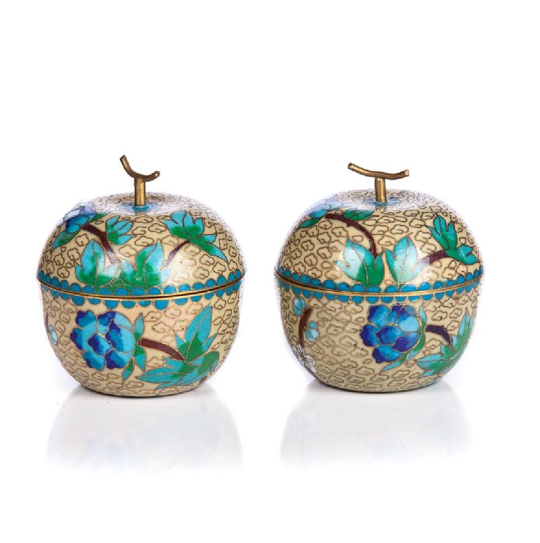 PAIR OF CHINESE CLOISONNE COVERED APPLE BOXES - 3