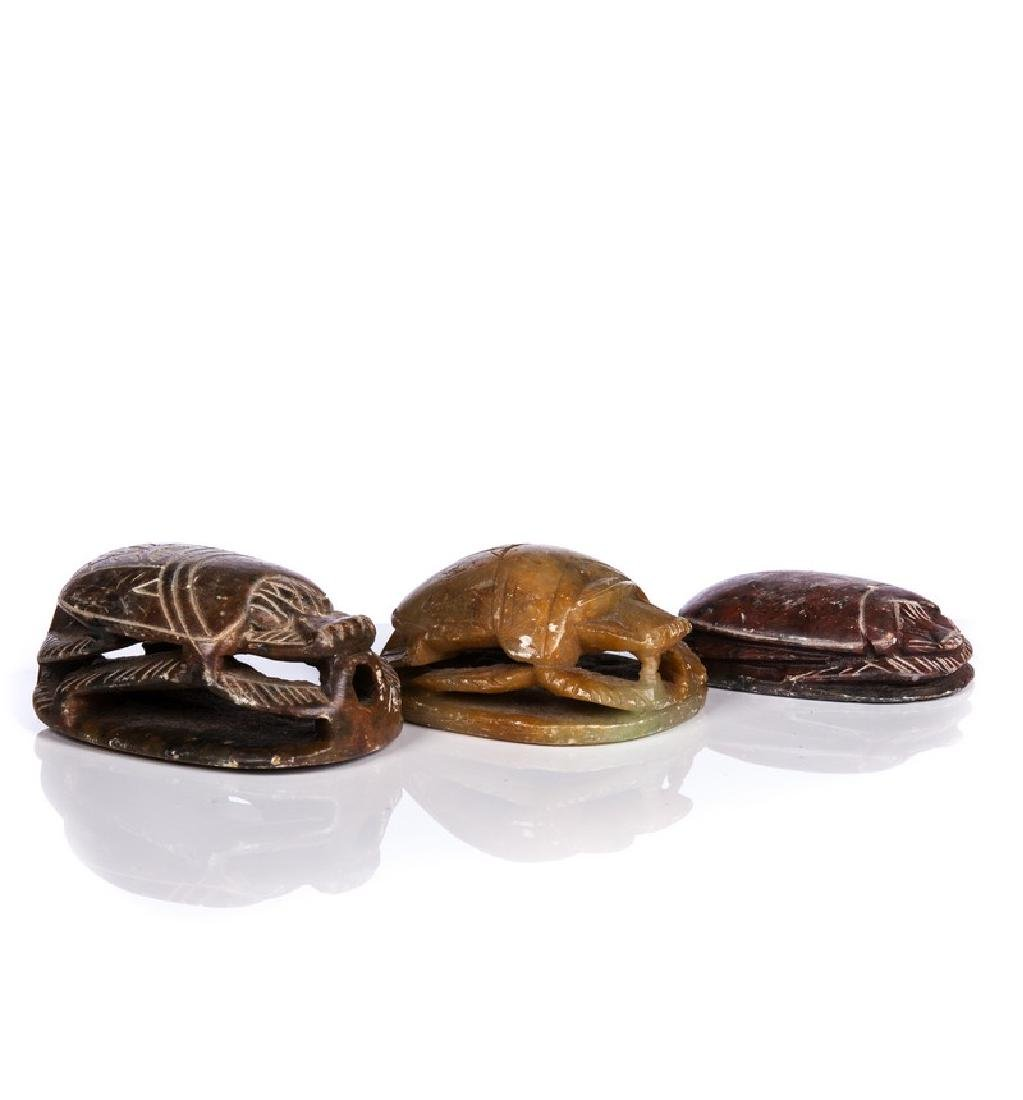 LOT OF 3 CHINESE SOAPSTONE SCARABS