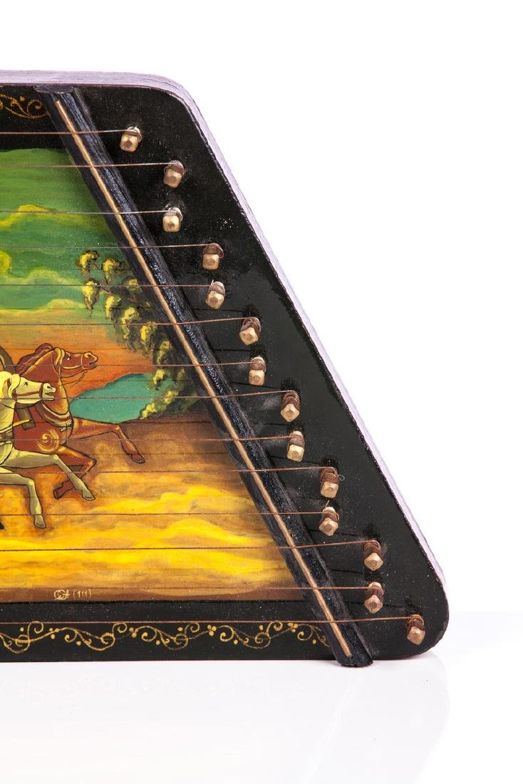 RUSSIAN BLACK LACQUER PAINTED ZITHER HARP - 2