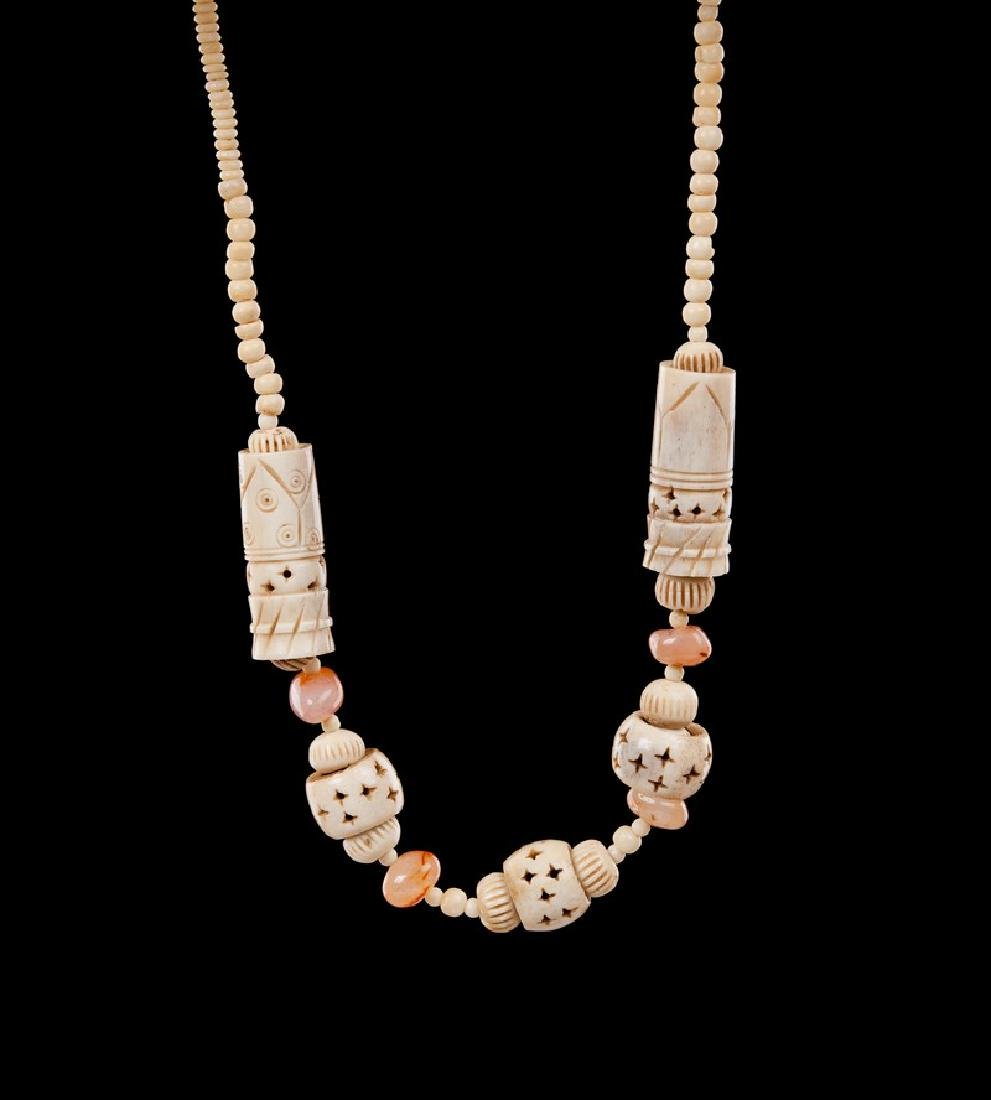 CARVED BONE AND CARNELIAN NECKLACE