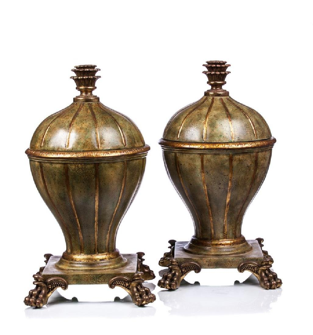PAIR MAITLAND SMITH COVERED URNS