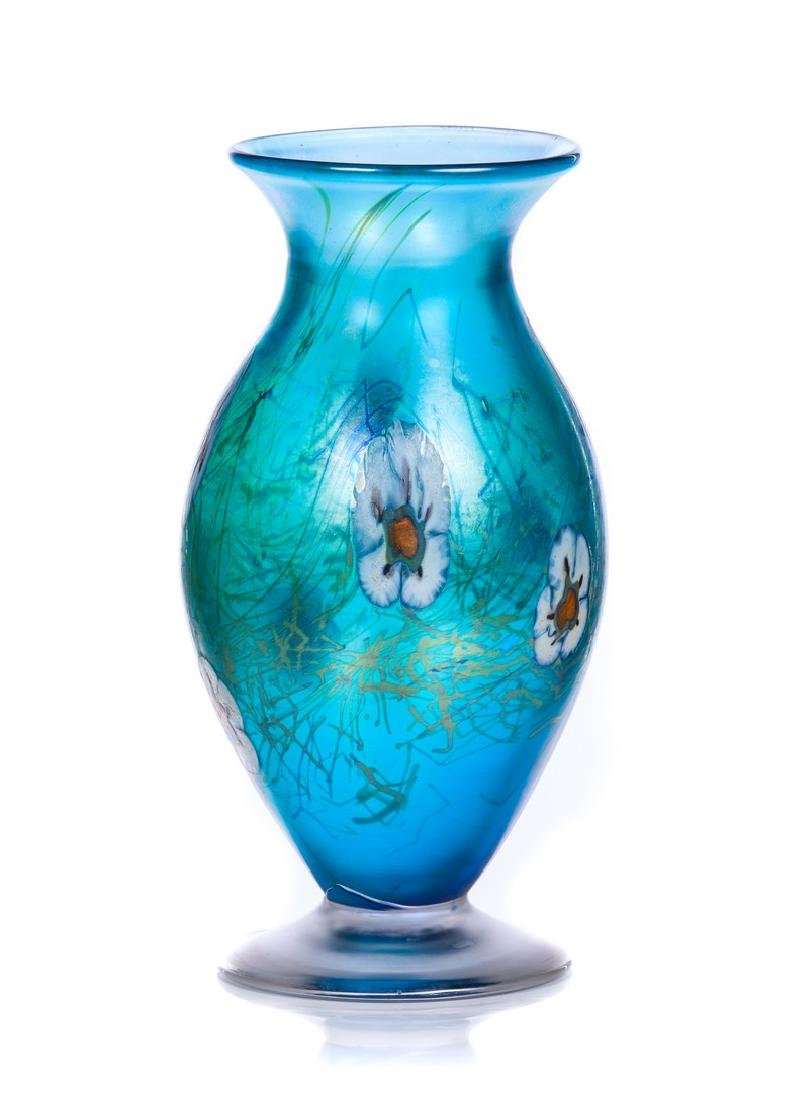 HAT IRIDESCENT BLUE ART GLASS VASE