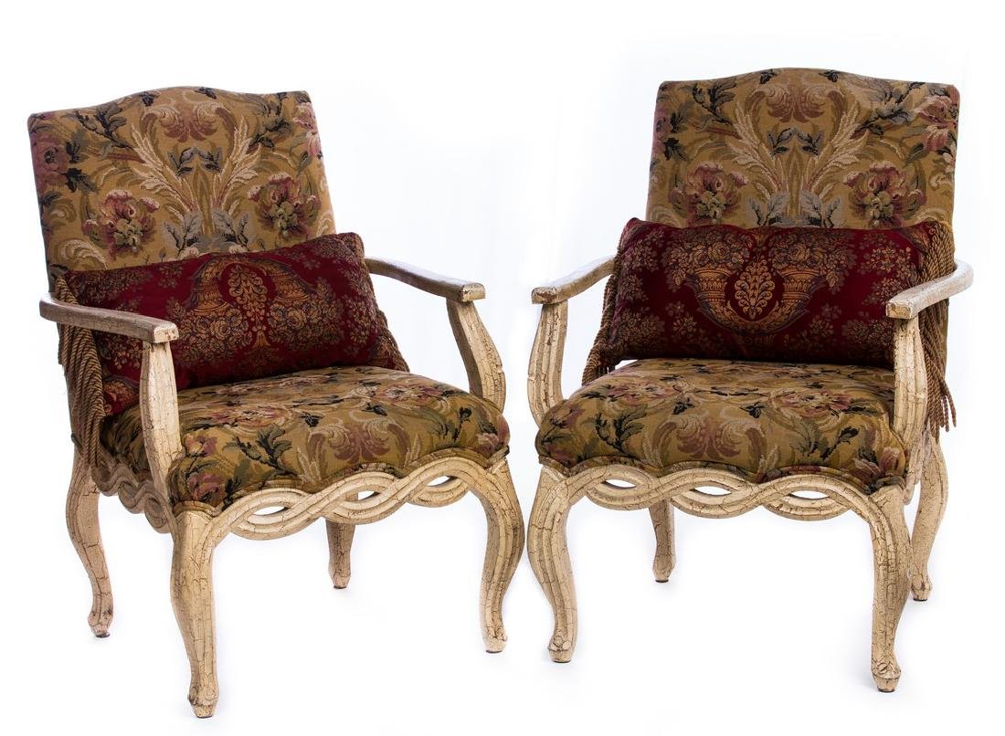 AUBISSON STYLE FRENCH PAIR ARM CHAIRS