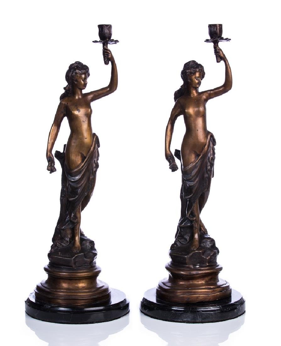 PAIR OF BRONZE FIGURAL CANDLESTICK HOLDERS