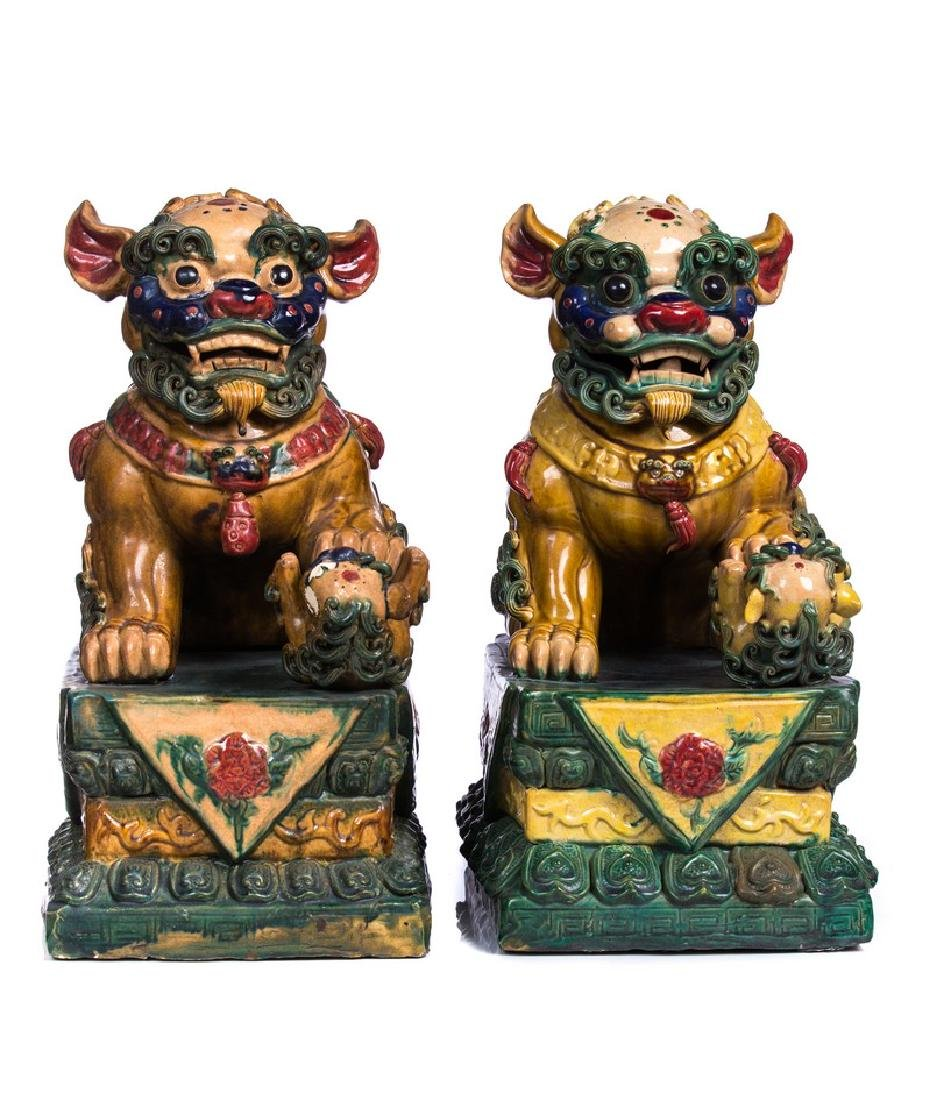 PAIR OF CHINESE HAND PAINTED FOO DOGS